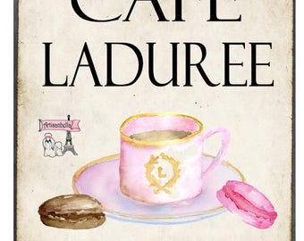CAFE LADUREE LARGE Printable Digital Image Download Kitchen Decor Paris France Download