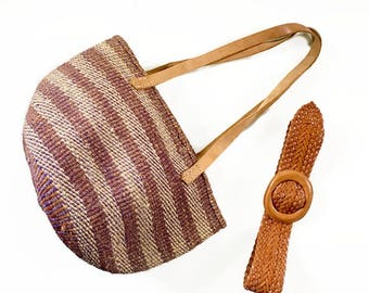Vintage Woven Jute Market bag / Leather Straps / Boho Chic Tote