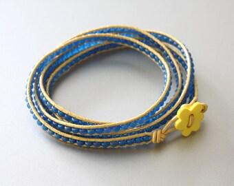 Wrap Beaded Bracelet - Yellow and Blue Bracelet - Friendship Bracelet - Summer Bracelet - Teen Bracelet - Hippie Bracelet