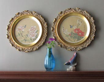 Vintage Asian Art - Set of 2 Florals - Ornate Round Frames - Wall Hanging