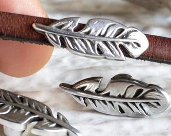 25%OFF SALE - Feather Slider Bar for 5mm Flat Leather Antique Silver Flat Leaf European Charm for ribbon bracelet necklace findings (P535)