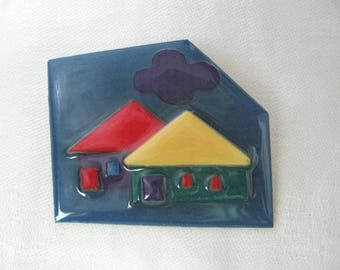 Teal blue geometric pin brooch with mod houses by Lydia