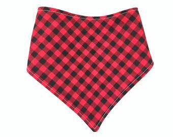 Buffalo Plaid Check Baby Bib - Bandana Style Bib - Bibdana - Drool Bib - Baby Boy Gift - Red Black Mini Check - Lumberjack Baby - Fall Bib