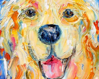 Happy dog pet portrait painting original oil abstract impressionism fine art impasto on canvas by Karen Tarlton
