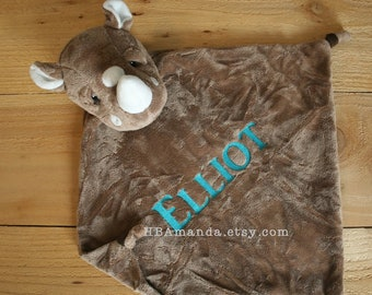 Gray Rhino Minky Blanket - Grey Monogrammed Rhino Blankie - Monogram Baby Gift - Security Blanket