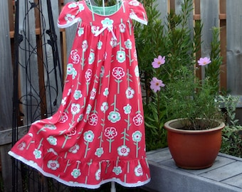 Size 6-girls, 100% Cotton Knit, LONG-Full Length, Eyelet Trim // Ready to Ship-------All other sizes--sold out