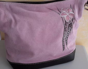 Pale pink suede bag painted Polynesian tattoo