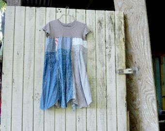 Tshirt Dress, Loose Fit, Upcycled Clothing, Summer Dress, Tunic, Upcycled Dress, Beige, Romantic, Boho, Simple, Aline