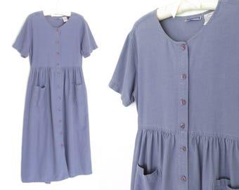 Vintage 90s Dress * Button-up Maxi Dress * Periwinkle Blue 90s Dress * Small / Medium