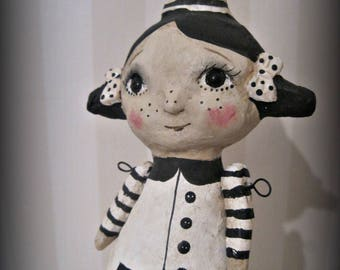 Goth doll - clay art doll- jointed arms - paper mache - OOAK doll- handmade art doll- folk art