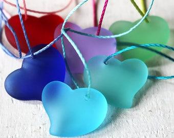 Sea Glass Pendant - Sea Glass Bead - Beach Glass Beads - Jewelry Making Supply - 18mm Sea Glass Glass Heart - Cobalt Blue - 6 Hearts