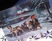 Vintage German Christmas Postcard, Early 1900's Ephemera, Winter Scene, Dog Sled and Elf