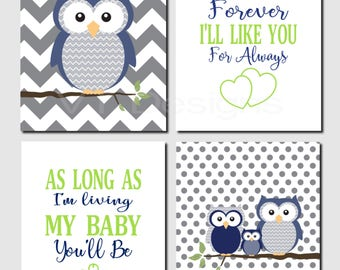 Boy Nursery Wall Art, Navy Green Gray Nursery Art, Quote Art Decor, I 'll Love You Forever, Baby Boy Room, Set of 4, Canvas or Prints