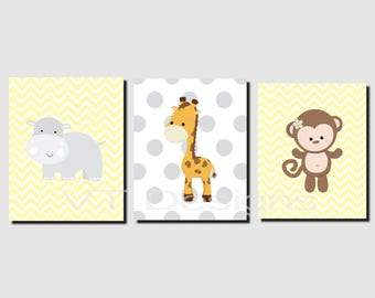 Jungle Animals Wall Art, Nursery Art, Yellow Gray, Toddlers, Boy, Girl, Shared Space, Siblings Wall Art, Set of 3 JPG Files, Printable