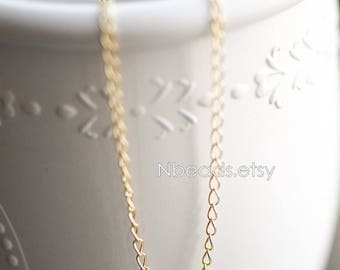 Real Gold plated Brass Chains 2.2mm Tiny (#GB-129)/ 1 Meter=3.3 ft