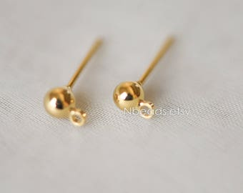 20pcs Gold plated Brass Ball Post Stud Earring with Ring/Loop (GB-136)