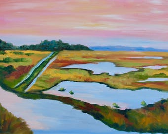 18 x 24 Modern Impressionist Original Oil Marsh Lowcountry Peach Sky Landscape Painting by Rebecca Croft