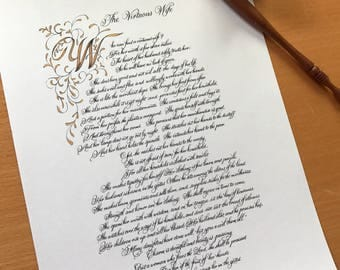 8.5x11/Print of Original/Proverbs 31/Calligraphy/Custom Calligraphy/black and gold/print/ copy of ornamentation by hand/Paper Only