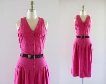 S A L E woven cotton drop waist dress / s
