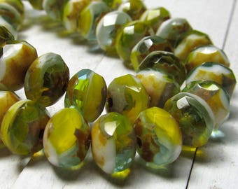 Czech Glass Beads 9 X 6mm Olive Green White and Scotch yellow Accented Faceted Rondelles - 25 Pieces