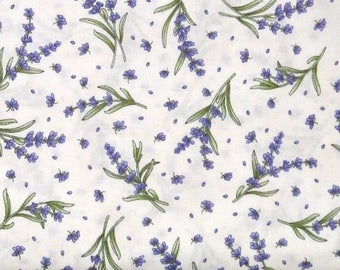 ON SALE Purple Herbs with Green Stems on White 100% Cotton Quilt Fabric for Sale, Thyme with Friends, Fat Quarter, Yardage, MAS8335-E