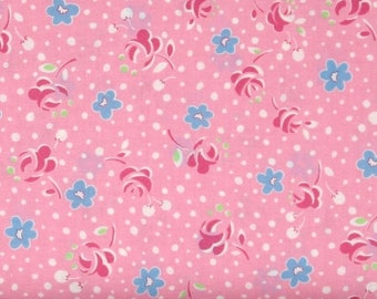 ON SALE Red & Blue Flowers with White Dots on Pink 1930's Reproduction Cotton Quilt Fabric, Lecien's Retro 30's Child Smile Collection, LEC3