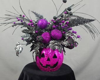 Hot Pink Jack O Lantern, Jack O Lantern Centerpiece, Pink and Black Centerpiece, Pumpkin Arrangement, Halloween Decoration, Spooky Pumpkin