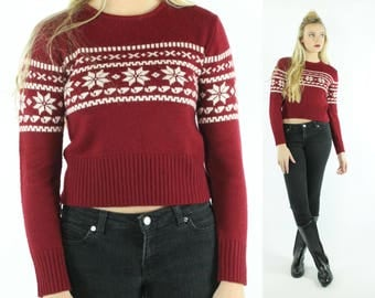 90s Snowflake Holiday Sweater Ugly Christmas Maroon White Knit Pullover Vintage 1990s Medium M Esprit Crop Top Cropped