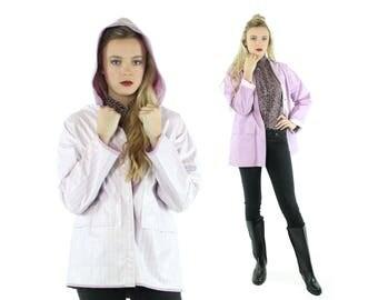 80s Vinyl Raincoat Reversible Hooded Jacket Coat Lavender Purple White Striped Vintage 1980s Small S Medium M