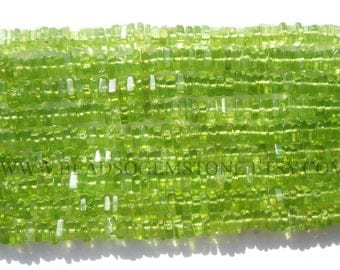 Semiprecious Beads, Peridot Smooth Square (Quality AA+) / 3.50 to 4.50 mm / 36 cm / PE-101