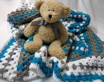 RESERVED Turquoise, Gray, and White Baby Afghan, Granny Square Baby Blanket, Stroller Afghan, Toddler Snuggle Blanket, Baby Shower Gift