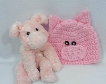 Brown hat and purse for 12 18 month old crochet set for matching baby pig hat with small stuffed pig home for the hospital crochet set for negle Gallery