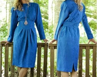 Summer Pencil Dress - Bodycon Dress - Casual Midi Dress - Mid Length Dress - Cobalt Blue Dress - Vintage Dress - Midi Office Dress