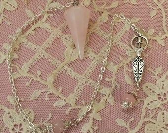 Rose Quartz  Pendulum, Goddess Pendulum, Goddess charm