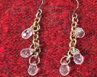 faceted crystal bead dangle earrings