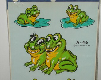 Frogs in Love Vintage Hand Painted Decorcal Decals 1979 A46