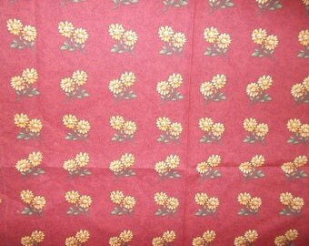 Cotton Fabric Rust with Yellow Sunflowers