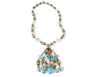 Givre Glass Tassel Necklace - Faceted Glass, Blue Clear, Gold Filigree, Chandelier Necklace, Statement Jewelry, Vintage Jewelry