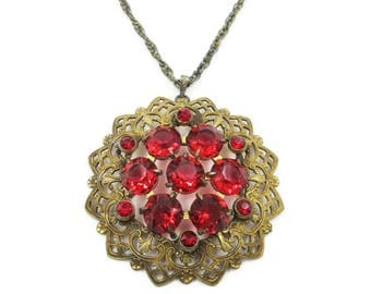 Art Deco Gold Necklace - Red Rhinestone, Large Medallion, Gold Tone Filigree, Art Deco Jewelry, Antique Jewelry