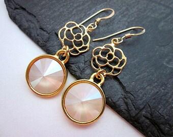 Rose & Crystal Earrings -- Elegant Rose Earrings -- Ivory Flower Earrings -- Rose Filigree Earrings -- Gold and Cream Dangles -- Swarovski
