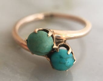 Antique Victorian 10k Gold and Turquoise Moi et Toi Ring