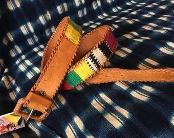 """26-30"""" Waist Belt / Vintage Leather Belt / Embroidered Statement Belt / Made in Guatemala Leather Belt"""