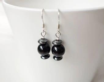 Small stone earrings black onyx earrings hematite stone earrings small black earrings for women