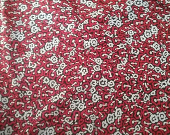 Weird Red Mushroom Silky Vintage Fabric Yardage