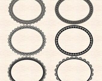 65%OFF SALE Digital frame clip art, digital lace frame clip art, doily clip art, lace clip art, monogram frame, F54