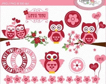 65%OFF SALE Valentine's Day clipart, owl clipart, Valentine owl clipart, cherry blossom clipart, Valentine frames clipart, P103