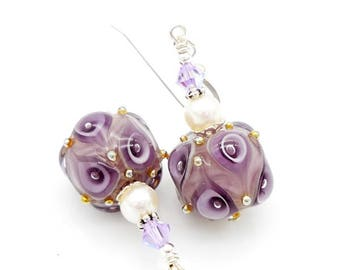 Purple Earrings, Lampwork Earrings, Pearl Earrings, Glass Bead Earrings, Glass Earrings, Unique Earrings, Colorful Earrings,Unusual Earrings