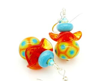 Orange Earrings, Colorful Earrings, Southwest Earrings, Lampwork Earrings,Glass Earrings,Glass Bead Earrings,Bright Earrings,Ruffle Earrings