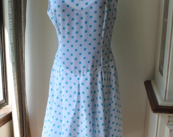 Vintage Turquoise Blue Polka Dot Summer Dress, Large Size US 10-14