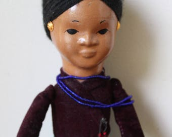 Vintage Ethnic Doll, Clay Face and Hands, Yarn Hair, Ethnic Dress